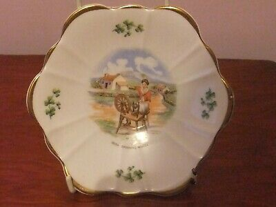 Royal Tara Plate Decorated With Cottage Scene Of A Women Using Spinning Wheel. • 6£