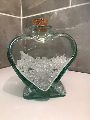 Heart Shaped Thick Green Glass Cirked Bottled With Gems • 8.99£