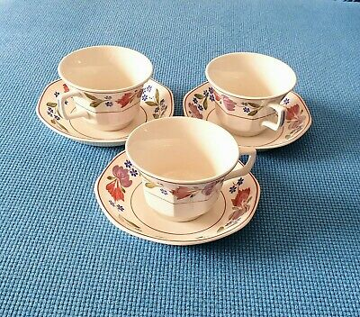 Adams *old Colonial* Three Breakfast Cups And Saucers  #excellent Condition# • 19.95£