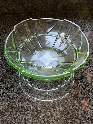 Sowerby Art Deco Green Glass Chevron Fruit Or Serving Dish Bowl • 1.99£