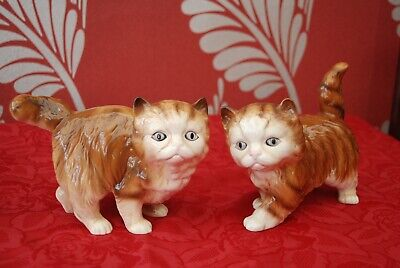 Pair Of Melba Ware Cat Figurines In Ginger • 24.99£