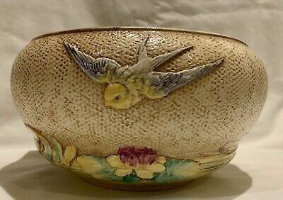 Rare Bretby Art Pottery Bowl Planter Swallows And Water Lily Relief Design 3119E • 60£