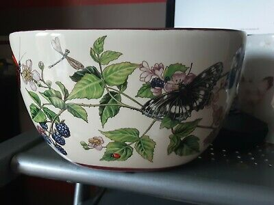 Vintage Ceramic Hand Painted Jardiniere Floral Patter & Butterflies • 4£