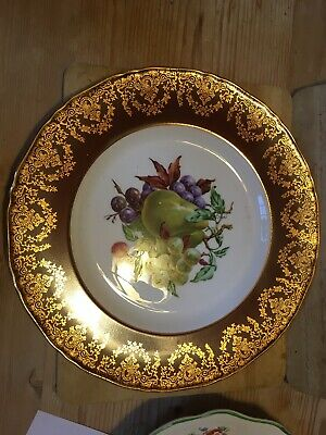 Unmarked Old Vintage Plate Fruits Gold And Brown Edge China Pear Grape • 4.99£