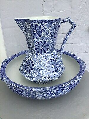 Antique Bowl And Jug Wash Set  Blue And White Wood And Sons • 25£
