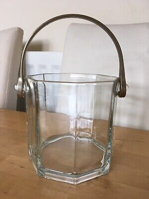 Vintage 1980s Arcoroc Luminarc Octime Ice Bucket Clear Glass Geometric Party • 9£
