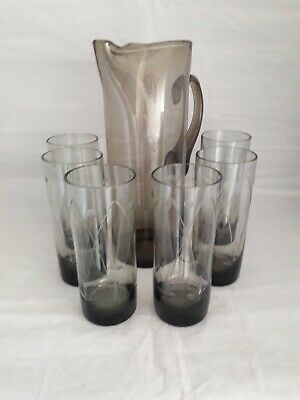 Vintage Beautiful Tall Whitefriars Glass Lemonade Jug With 6 Etched Glasses (8g) • 19.99£