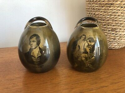 Antique Vintage Pair Of Vases Rob Robbie Burns Ridgway Pottery As Found • 19.99£