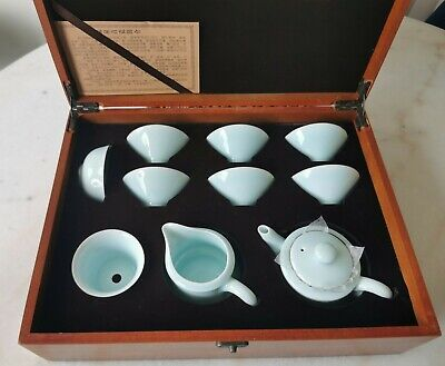 Chinese  'Immaterial World Cultural Heritage' Celadon 10 Piece Boxed Tea Set • 39.99£