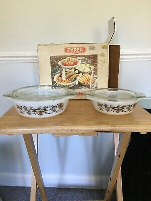 Vintage Pair Of Pyrex Casserole Dishes Never Used With Box Brown On White • 11.99£