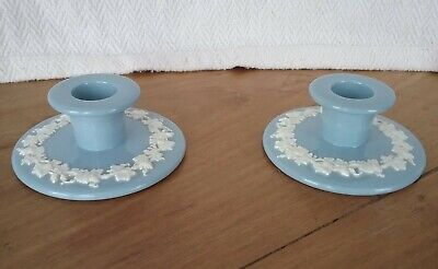Pair Of Wedgwood Queensware Embossed White On Blue Candlesticks  • 22.50£