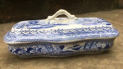 Antique Blue And White Chinese Worcester Dish Tooth Brush Holder • 22£