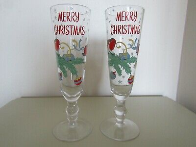 Cath Kidston Merry Christmas 2 Champagne Glass Flutes  • 25£