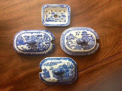 Antique Blue And White Transfer Pottery Lids/drainer.spode. • 20£