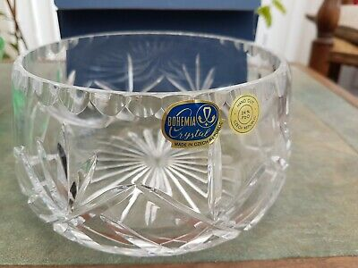 Vintage BOHEMIA Cut Crystal Decorative FRUIT BOWL With Box New  • 8.99£
