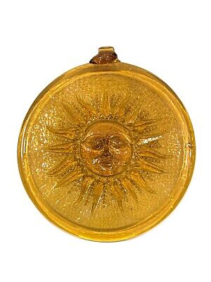 WHITEFRIARS STYLE SUNSPOT AMBER TINTED CIRCULAR PLAQUE 17.5cm FIRE INSURANCE? • 79.95£