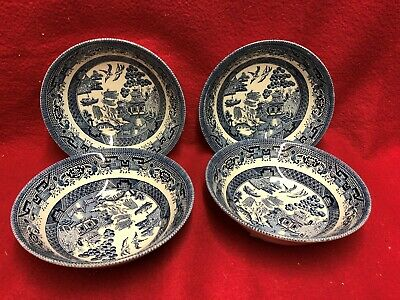 Willow Patten Set Of 4 Soup Or Cereal Dishes • 15.75£
