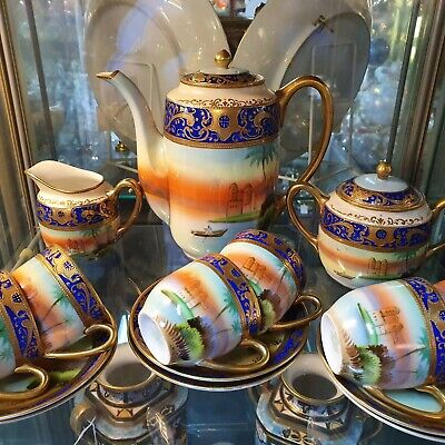 Stunning Hand Painted And Gilded Signed 15 Piece Meito Coffee Set • 250£