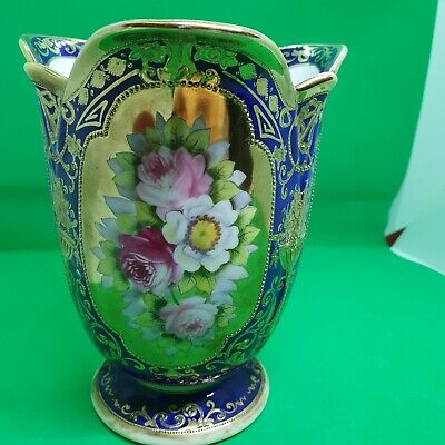Stunning Hand Painted And Heavy Gilded Noritake Three Sided Vase • 125£