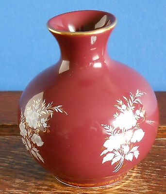 A Prinknash Abbey Pottery Bud Vase In Burgundy Gilt • 9.99£