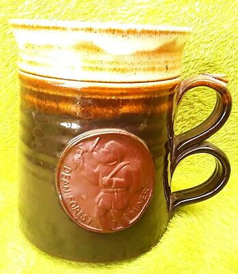 Forest Of Dean Miner Pottery Tankard New / Unused. Brown And Cream Glaze. • 5.99£