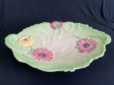Vintage Shorter & Son Hand Painted Green & Floral Oval Bowl / Dish 12.2  Long • 14.99£