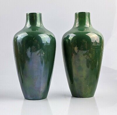 Rare Pair Of Royal Doulton Green Lustre Vases No 853 C1920 Titanian Ware ? • 249.99£