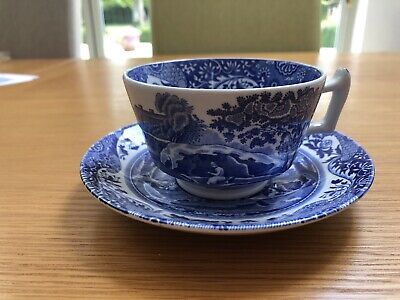 English Spode China, Italian Blue, Large Cup And Saucer Excellent Condition • 12£