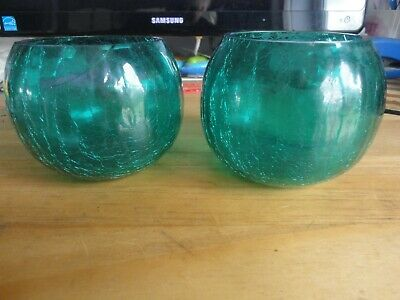 2 X GREEN CRACKLE VASES ROUND BOWLS • 9.99£