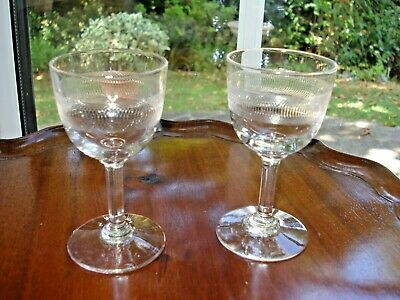 Pair Of Edwardian Circle Spiral Etched / Engraved Sherry Port Glasses • 4.99£