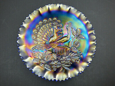 Northwood Iridescent Blue Carnival Glass Bowl Peacocks On The Fence • 129.99£