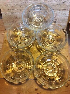 5 Glass Dishes Probably 1930's Sundae Vintage Old Set Art Deco Afternoon Tea • 4.99£