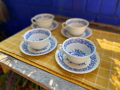 Set Of 4 Vintage Wedgwood Tea Cups W/Saucers. Cornflower Blue. Made In England. • 9.50£