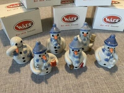 Wade Flake Family Snowman Full Set Of 6 Ceramic Ornaments Boxed • 18.01£