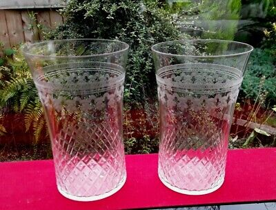"2 Vintage Pall Mall ""lady Hamilton"" Tumblers Glasses Cut And Etched 4.5  Tall • 13.25£"