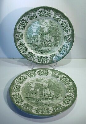Pair Of Vintage English Ironstone Transfer Printed Hunt Scene Plates. • 14.99£