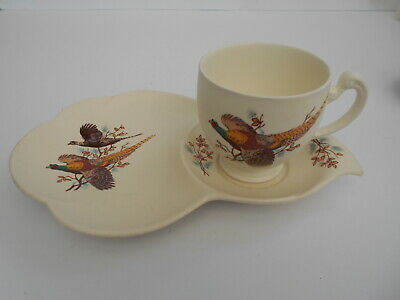 Vintage Axe Vale Studio Pottery Devon Teacup And Tray Tennis Set With Pheasants. • 11.99£