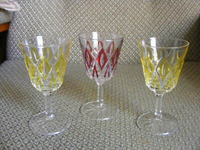 Set Of 3 Vintage Harlequin Pink Yellow French Reims Drinking Glasses • 5.99£