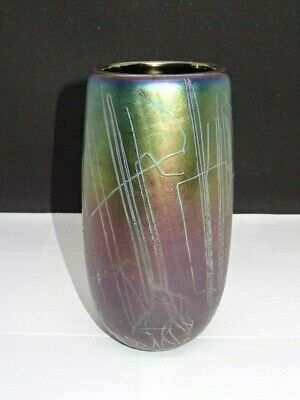 JOHN DITCHFIELD Iridescent 6.5  Art Glass Vase - Signed & Numbered • 74.95£