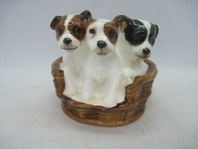 Royal Doulton Dogs Figure 3 Terrier Puppies In Basket HN2588 • 16.99£