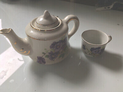Vintage Antique Shell Ware Ceramic Nursery Ware Childs TEAPOT 30's With Purple F • 29.99£