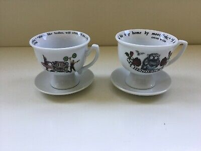 Two Hendrick's Gin Tea Cups With Saucers • 18.49£