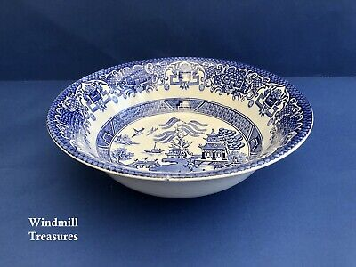 Vintage Old Willow Blue & White Willow Pattern Serving Bowl - Good Condition • 9.99£