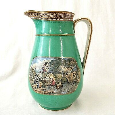 Antique Prattware Jug The Stone Jetty And The Torrent Circa 1850 • 120£
