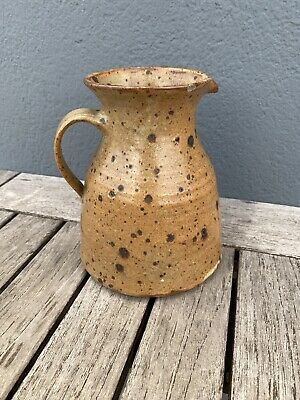 French Vintage Rustic Brown Spotty Jug • 20£