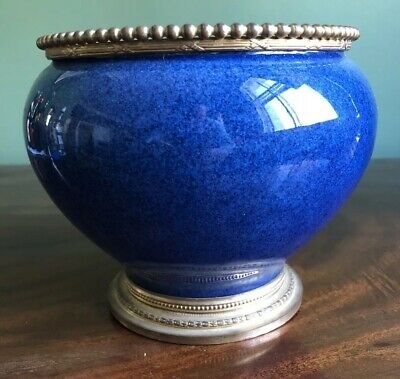 Antique Sèvres Blue Vase Gilt Metal Mounts Porcelain Cache Pot China Vase • 195£