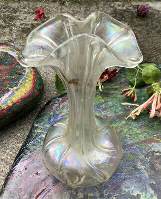 Antique VASE-Clear Iridescent Victorian-Hand Blown-Delicate-Early Art Nouveau • 32.50£