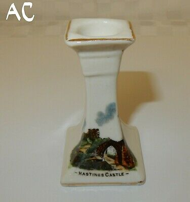 Rare Crested China Hastings Castle  Candle Holder  8cm Tall • 4.99£