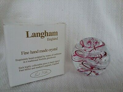 Boxed Vintage Langham Glass Signed Paul Miller Pink/White Air Swirl Paperweight • 25£