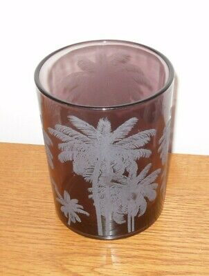 Etched Glass Vase - Purple/Amethyst Colour With Palm Tree Detailing - 12.5cm VGC • 3.95£